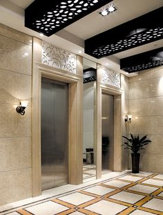 ... Black design for ceiling of office building corridor