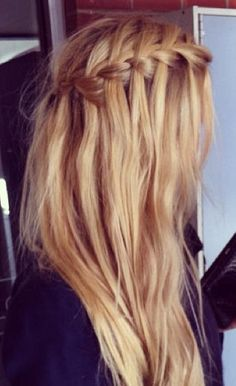 *picture only*  what to do:  do a waterfall braid from each side, then pull them together in the back with a small elastic. if u want u can probably wrap some hair from underneath the elastic around the elastic and place it with a bobby pin - this will hide the elastic :)