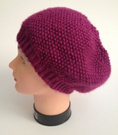 Purple Slouchy Hat Slouchy Beanie Handknit by MadebyMegShop, $30.00