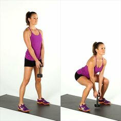 Melt Fat, Build Muscle: Dumbbell Blast Circuit Workout: Add some dumbbells to your fitness routine and build some metabolism-boosting muscle while toning your entire body. - Pins For Your Health Squat Challenge, Dumbbell Workout, Butt Workout, Dumbbell Exercises, Dip Workout, Air Squats, Weight Exercises, Kettlebell Training, Fitness Routines