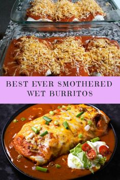 Best Ever Smothered Wet Burritos Recipe - Recipes Smothered Beef Burritos, Tacos And Burritos, Mexican Burritos, Baked Burritos, Chicken Burritos, Mexican Dishes, Mexican Food Recipes, Beef Recipes, Cooking Recipes