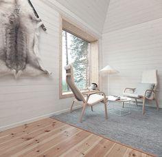 colores claros y uso intensivo de la madera en suelos, paredes y techos de este estupendo salón de estilo nórdico.