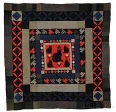 Pieced and Appliqued Wool Quilt with Cats, America, probably early 20th century