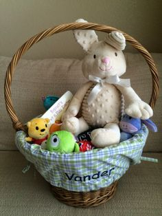 Easter basket ideas for one year old easter basket pinterest vanders first easter basket what we put it in our almost one year olds easter negle Gallery