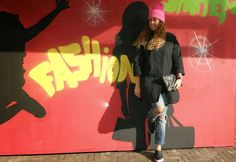 http://www.missiontostyle.nl/2014/02/my-style-i-am-fashion.html?m=1  #fashionblogger #fashion #pink beanie #oversized coat #destroyed jeans #slip on sneakers