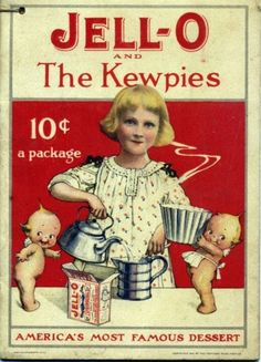 #vintage ad for Jell-O.  I love the kewpie dolls!