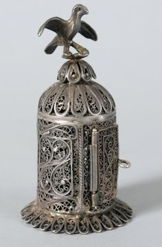 Silver and filigree Besamim [spice] tower. Bird on top. Silver stamp in the shape of a tower on lower section.