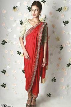 07a154ca60 Sarees - Udita ivory and red mirror work sari set