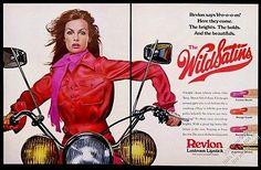 jean shrimpton ads | 1972 Jean Shrimpton photo on motorcycle Revlon lipstick vintage print ...