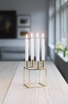 By Lassen Brass Kubus Candle Holder Candle Stand, Candle Holders, Norway Design, Advent Candles, Scandinavian Home, Decoration, Home And Living, Interior Inspiration, Interior And Exterior