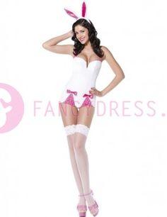 #Witte #Pin #Up #Bunny #kostuum bestaat uit:  Een wit/roze rompertje met roze strikken.  Een roze staart.  Een paar oren op een hoofdband.    Maten voor dit kostuum zijn:  X small vrouwen maat 34-36  Small vrouwen maat 36-38
