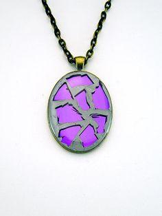 Oval Purple Broken Mirror Glass Pendant Necklace  by SlamTango, $36.00
