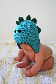Crochet hat pattern crochet baby dinosaur hat by LuzPatterns need to find a knitting version of this pattern!