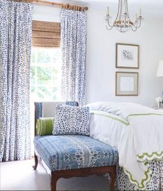 Brunschwig and Fils curtains Les Touches curtains les touches drapes curtain panels dalmation print black and white blue and white dots - Bedroom decor - Style At Home, Home Interior, Interior Design, Interior Modern, Interior Paint, Drapes Curtains, Curtain Panels, Bedroom Drapes, Master Bedroom