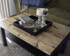 Coffee Table Makeover While a college student who was on a very limited budget, Ikea was an awesome place to shop! However, the pieces there are usually fairly plain, kind of mo Coffee Table Hacks, Ikea Lack Coffee Table, Table Ikea, Coffee Table Makeover, Diy Furniture Table, Coffee Table Styling, Rustic Coffee Tables, Coffe Table, Decorating Coffee Tables