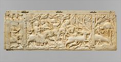 Panel with Hunting Scenes,ca 1350  made in France. Ivory.