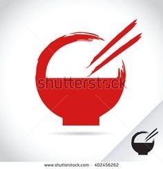 Vector stock logo template bowl with chopsticks, asian food restaurant - stock vector