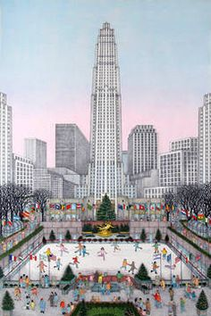 """Cuca Romley Etching - Rockefeller Center, New York, 18 x 28"""", b. in Spain 1933, living in the U.S. since 1969"""