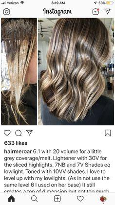 Beautiful Hair Color, Cool Hair Color, Hair Colour, Redken Hair Color, Balayage Hair Tutorial, Redken Hair Products, Hair Color Formulas, Blonde Hair Shades, Hair Color Techniques