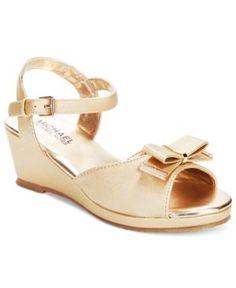 Michael Kors Girls' or Little Girls' Cate Millie Sandals - Gold 5