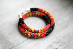 African Style Necklace, Masai Beaded Necklace, Rope Necklace, Orange and Black Necklace, Zulu Necklace, Beadwork Jewelry on Etsy, $45.00