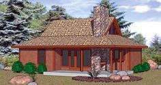 House Plan 94332   Cabin    Plan with 931 Sq. Ft., 2 Bedrooms, 1 Bathrooms