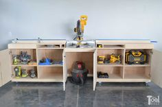 A mobile miter saw station for your garage of workshop to help you make precise cuts easily with the Precision Trak and Stop Kit and plenty of support for long boards. Below the miter saw table is tons of storage for tools and supplies.