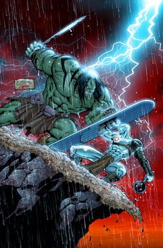 Actually, Skaar, the son of the the Hulk vs. Silver Surfer