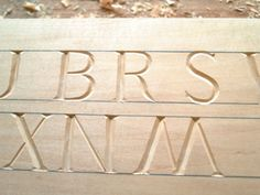 ...in that they effectively draw a line across the head and base line of the work and take the eye to a neater conclusion Carving Letters In Wood, Dremel Wood Carving, Wood Carving Patterns, Wood Letters, Stone Carving, Woodworking Books, Woodworking Projects Plans, Carved Wood Signs, Chip Carving