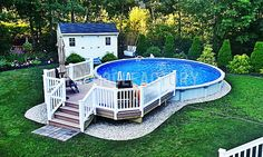 If you are looking to put a deck around your pool, installing it semi inground would be your best option. Since the pool is lower to the ground, you will not have to build the deck as high. #thepoolfactory