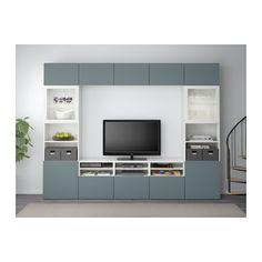 BESTÅ TV storage combination/glass doors - white/Valviken grey-turquoise clear glass, drawer runner, soft-closing - IKEA