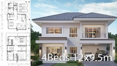 House design plan with 4 bedrooms. Style modern House description: Number of floors 2 storey house bedroom 3 rooms toilet 3 rooms maid's room 4 Bedroom House Designs, 4 Bedroom House Plans, Bungalow Floor Plans, Home Design Floor Plans, Bungalow Ideas, Modern Bungalow, 2 Storey House Design, Modern House Design, Philippines House Design