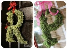 Moss Wreath Monogrammed Door Wreath~ A cute idea for adding some personal flair to an existing or store-bought wreath. How to make a moss wreath ~ A step by step guide to making a lush moss wreath. This wreath is so classic, it could be used year round! Diy Yarn Wreath, Moss Wreath, Candy Wreath, Felt Wreath, Fabric Wreath, Twig Wreath, Wreath Crafts, Door Wreaths, Yarn Wreaths