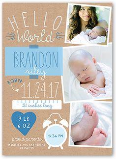 Hello World Boy 5x7 Stationery Card by Hello, Kelle