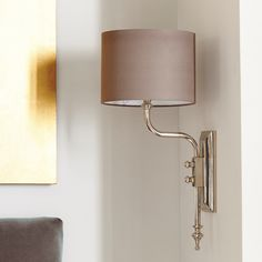 Dover traditional, elegant wall light in antique brass or polished nickel finish. Wall Lantern, Wall Sconces, Wall Lamps, Ceiling Pendant, Living Room Lighting, Metal Walls, Light Decorations, Polished Nickel, A Table