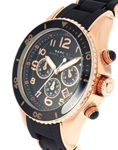 I heat this Marc By Marc Black And Rose Gold Chronograph Bracelet Watch