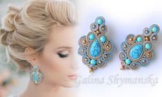 Lovely soutache earrings with turquoise stones. Very cute and elegant. A beautiful combination of colors. Length 6 cm. Thank you for visiting my store