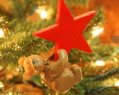 Red Star Teddy Bear Ornament