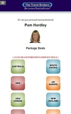 Hi. I'm Pam HardleyI have been in the travel industry as a retail agent for over 14 years, previously managing a busy retail shop for a large travel chain, where I was consistently in their top 5 agents nationwide, and for the last 7 years working independently as a broker.  I absolutely adore travelling, exploring new countries and experiences.  The world is a large place and I'd love to help you visit it.I have travelled to : [61 countries] • Australia:Sydney, Canberra, Melbourne,...