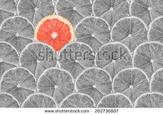 Black And White Photo Of Pink Grapefruit Slice Stand Out Of Lemon Slices - stock photo