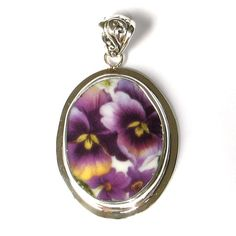 Broken China Jewelry Double Purple Pansy Sterling Silver Oval Pendant