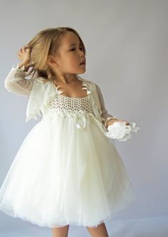 Girls Tulle Bolero. Special occasion bolero with lace  crochet edge.