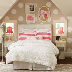 Knockout Knockoff: Pottery Barn Teen Bedroom... tan, pink, and white room with polka dot's