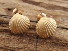 SALE OFF seashell gold stud earrings bridesmaid by preciousjd Seashell Jewelry, Gold Jewelry, Seashell Crafts, Jewelery, Bridesmaid Earrings, Bridesmaid Gifts, Sterling Silver Earrings Studs, Stud Earrings, Gold Studs