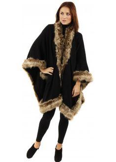 Urban Mist Paris Black Knitted Oversized Cape Tonal Faux Fur Trim