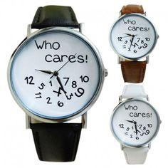 Who cares!-Belle Montre minimaliste avec son bracelet en cuir vous accompagnera dans vos looks de tous les jours.