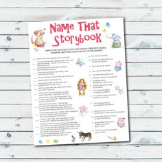 Storybook Baby Shower Games Storybook Quiz by GraphicWispPrints