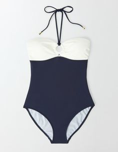 This vintage-inspired swimsuit is just the thing for sunning yourself on the deck of a yacht – or a nearby swimming pool. We've added a few bits of hidden support (including lightly padded cups and body-sculpting lining) for a bit of va-va-voom. Metal trims bring a touch of luxury.