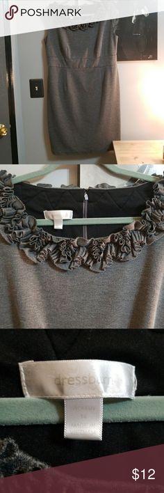 Ruffled gray dress size 14 So cute! Stretchy gray Dress Barn ruffled dress in size 14. Dress Barn Dresses
