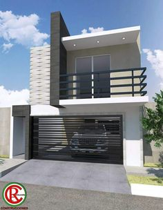 House Floor Design, 3 Storey House Design, Modern House Facades, Modern Architecture House, Architect Design House, Small Modern House Plans, Affordable House Plans, Balcony Railing Design, Stairs In Living Room